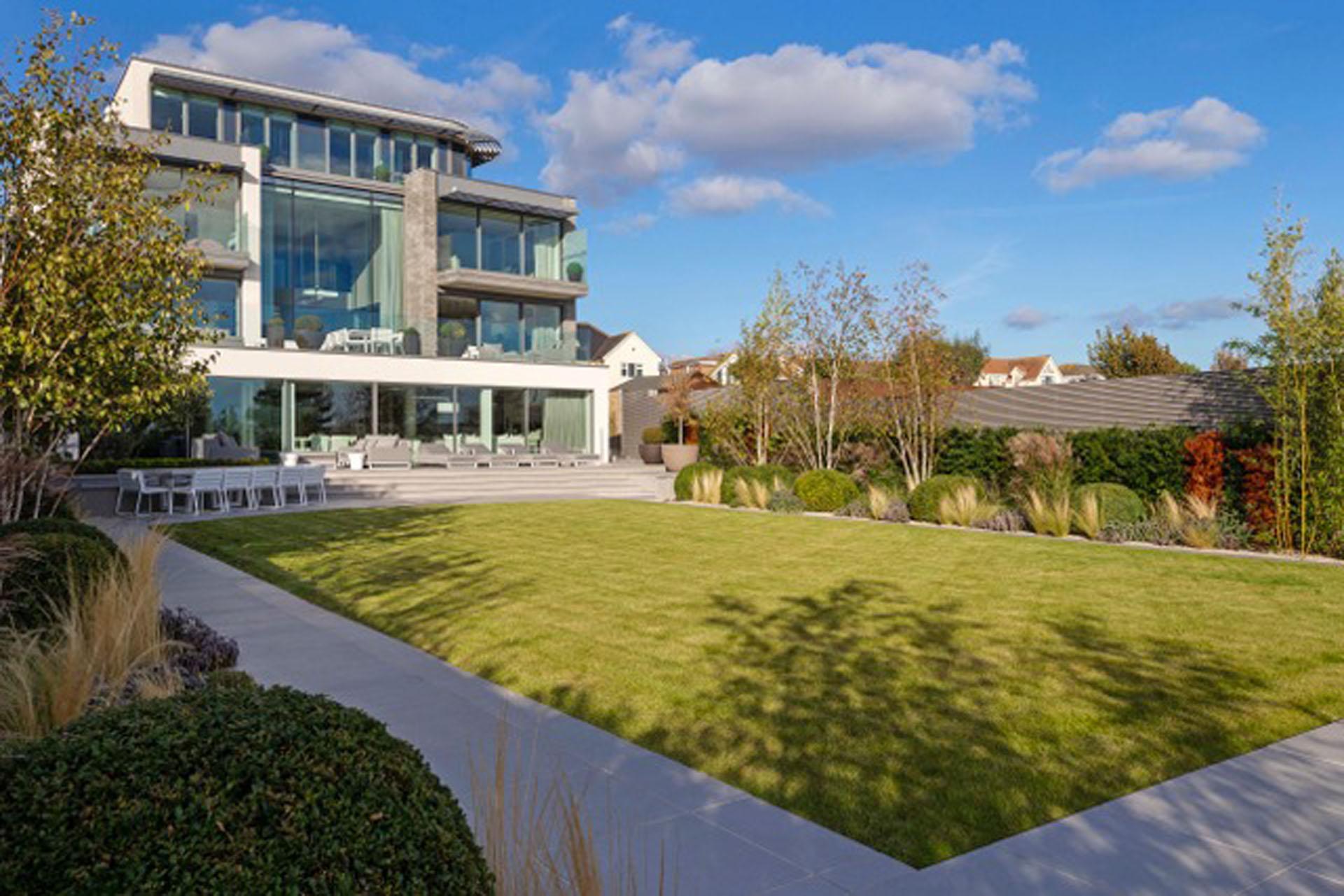 Rear Garden with central lawn, Essex